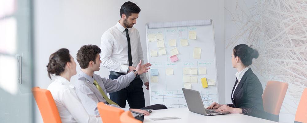 Team meeting five people  working together in office meeting room